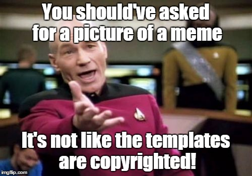 Picard Wtf Meme | You should've asked for a picture of a meme It's not like the templates are copyrighted! | image tagged in memes,picard wtf | made w/ Imgflip meme maker