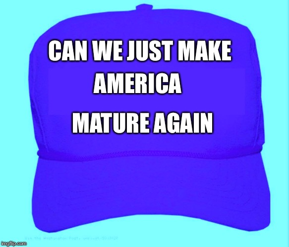 New campaign slogan  | CAN WE JUST MAKE MATURE AGAIN AMERICA | image tagged in baseball hat hillary | made w/ Imgflip meme maker