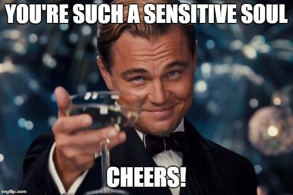 Leonardo Dicaprio Cheers Meme | YOU'RE SUCH A SENSITIVE SOUL CHEERS! | image tagged in memes,leonardo dicaprio cheers | made w/ Imgflip meme maker