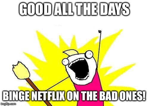 X All The Y Meme | GOOD ALL THE DAYS BINGE NETFLIX ON THE BAD ONES! | image tagged in memes,x all the y | made w/ Imgflip meme maker