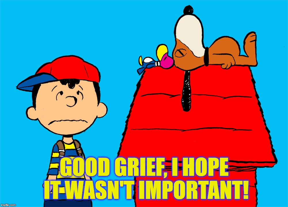 GOOD GRIEF, I HOPE IT WASN'T IMPORTANT! | made w/ Imgflip meme maker