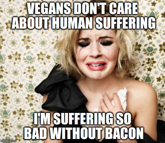 Vegans don't care about human suffering | VEGANS DON'T CARE ABOUT HUMAN SUFFERING I'M SUFFERING SO BAD WITHOUT BACON | image tagged in first world problems girl,vegan,human rights,animal rights | made w/ Imgflip meme maker