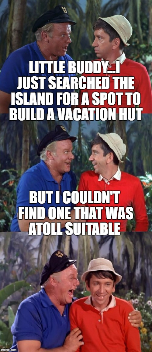 Coral reefer madness | LITTLE BUDDY...I JUST SEARCHED THE ISLAND FOR A SPOT TO BUILD A VACATION HUT BUT I COULDN'T FIND ONE THAT WAS ATOLL SUITABLE | image tagged in gilligan bad pun,memes,skipper,gilligan's island,coral | made w/ Imgflip meme maker