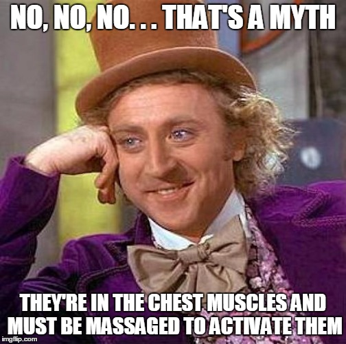 Creepy Condescending Wonka Meme | NO, NO, NO. . . THAT'S A MYTH THEY'RE IN THE CHEST MUSCLES AND MUST BE MASSAGED TO ACTIVATE THEM | image tagged in memes,creepy condescending wonka | made w/ Imgflip meme maker