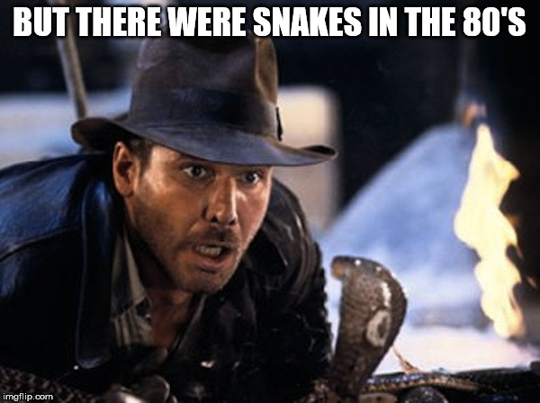 Indiana Jones - It Had To Be Snakes | BUT THERE WERE SNAKES IN THE 80'S | image tagged in indiana jones - it had to be snakes | made w/ Imgflip meme maker