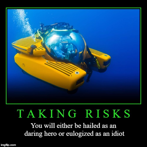 Taking Risks | T A K I N G   R I S K S | You will either be hailed as an daring hero or eulogized as an idiot | image tagged in funny,demotivationals,risk,idiot,hero,wmp | made w/ Imgflip demotivational maker