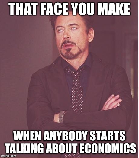 Face You Make Robert Downey Jr Meme | THAT FACE YOU MAKE WHEN ANYBODY STARTS TALKING ABOUT ECONOMICS | image tagged in memes,face you make robert downey jr | made w/ Imgflip meme maker
