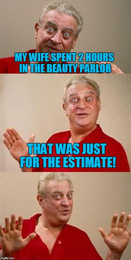 bad pun Dangerfield  | MY WIFE SPENT 2 HOURS IN THE BEAUTY PARLOR THAT WAS JUST FOR THE ESTIMATE! | image tagged in bad pun dangerfield | made w/ Imgflip meme maker