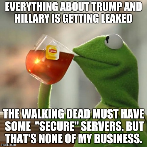 "Security | EVERYTHING ABOUT TRUMP AND HILLARY IS GETTING LEAKED THE WALKING DEAD MUST HAVE SOME  ""SECURE"" SERVERS. BUT THAT'S NONE OF MY BUSINESS. 