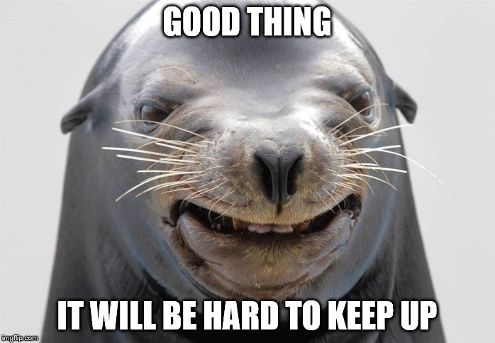 happy seal | GOOD THING IT WILL BE HARD TO KEEP UP | image tagged in happy seal | made w/ Imgflip meme maker
