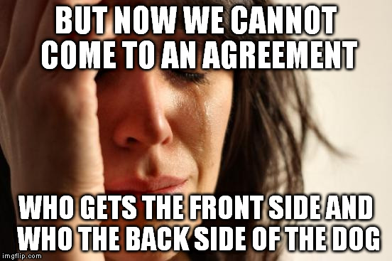First World Problems Meme | BUT NOW WE CANNOT COME TO AN AGREEMENT WHO GETS THE FRONT SIDE AND WHO THE BACK SIDE OF THE DOG | image tagged in memes,first world problems | made w/ Imgflip meme maker