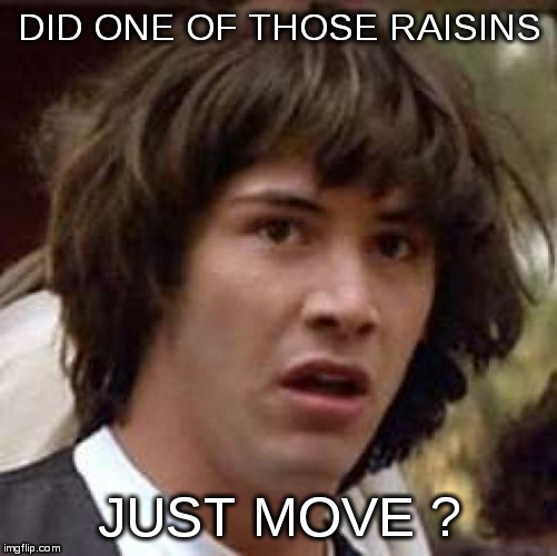 Conspiracy Keanu Meme | DID ONE OF THOSE RAISINS JUST MOVE ? | image tagged in memes,conspiracy keanu | made w/ Imgflip meme maker