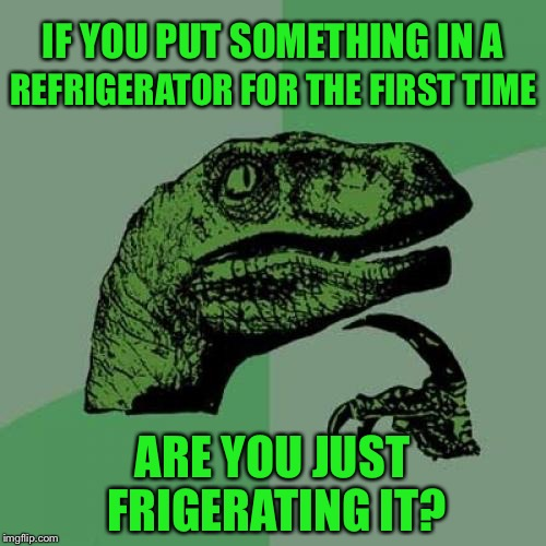 Philosoraptor Meme | IF YOU PUT SOMETHING IN A ARE YOU JUST FRIGERATING IT? REFRIGERATOR FOR THE FIRST TIME | image tagged in memes,philosoraptor,refrigerator,twist of words,grammar,funny | made w/ Imgflip meme maker