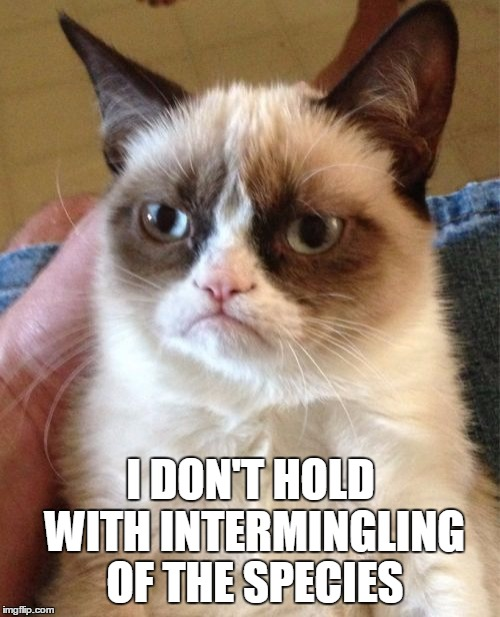 Grumpy Cat Meme | I DON'T HOLD WITH INTERMINGLING OF THE SPECIES | image tagged in memes,grumpy cat | made w/ Imgflip meme maker