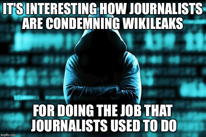 wikileaks | IT'S INTERESTING HOW JOURNALISTS ARE CONDEMNING WIKILEAKS FOR DOING THE JOB THAT JOURNALISTS USED TO DO | image tagged in wikileaks,media bias | made w/ Imgflip meme maker