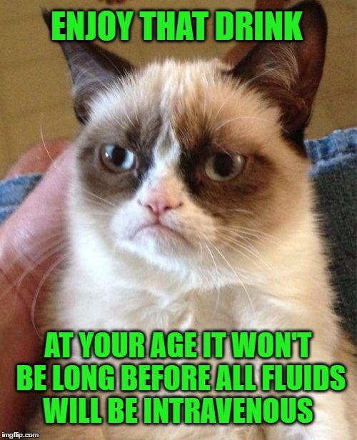 Grumpy Cat Meme | ENJOY THAT DRINK AT YOUR AGE IT WON'T BE LONG BEFORE ALL FLUIDS WILL BE INTRAVENOUS | image tagged in memes,grumpy cat | made w/ Imgflip meme maker