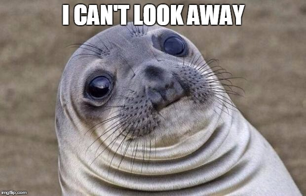 Awkward Moment Sealion Meme | I CAN'T LOOK AWAY | image tagged in memes,awkward moment sealion | made w/ Imgflip meme maker