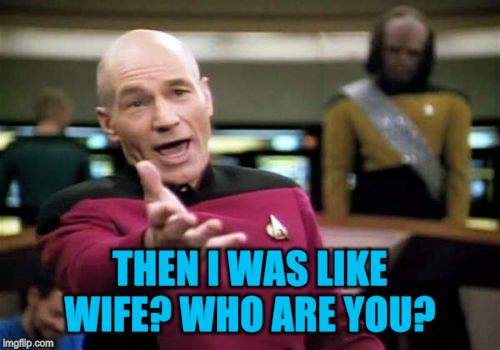 Picard Wtf Meme | THEN I WAS LIKE WIFE? WHO ARE YOU? | image tagged in memes,picard wtf | made w/ Imgflip meme maker