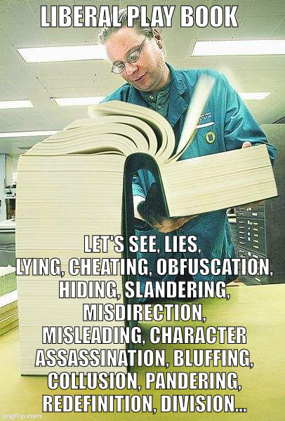 How to understand a liberal | LIBERAL PLAY BOOK LET'S SEE, LIES, LYING, CHEATING, OBFUSCATION, HIDING, SLANDERING, MISDIRECTION, MISLEADING, CHARACTER ASSASSINATION, BLUF | image tagged in how to understand a liberal | made w/ Imgflip meme maker