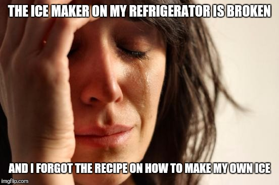 First World Problems: Ice | THE ICE MAKER ON MY REFRIGERATOR IS BROKEN AND I FORGOT THE RECIPE ON HOW TO MAKE MY OWN ICE | image tagged in memes,first world problems,ice,technology | made w/ Imgflip meme maker