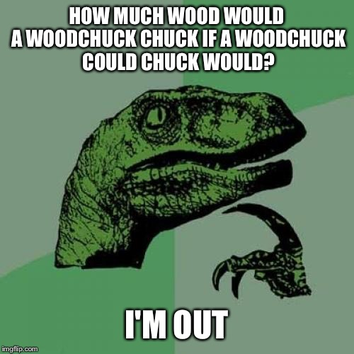 I still don't know the answer to this question | HOW MUCH WOOD WOULD A WOODCHUCK CHUCK IF A WOODCHUCK COULD CHUCK WOULD? I'M OUT | image tagged in memes,philosoraptor,woodchuck,question,how much | made w/ Imgflip meme maker