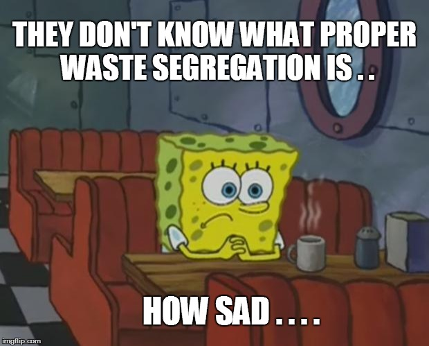 Spongebob Waiting |  THEY DON'T KNOW WHAT PROPER  WASTE SEGREGATION IS . . HOW SAD . . . . | image tagged in spongebob waiting | made w/ Imgflip meme maker