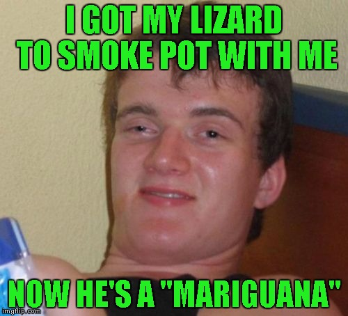 "10 Guy Meme | I GOT MY LIZARD TO SMOKE POT WITH ME NOW HE'S A ""MARIGUANA"" 