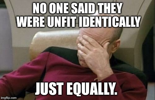 Captain Picard Facepalm Meme | NO ONE SAID THEY WERE UNFIT IDENTICALLY JUST EQUALLY. | image tagged in memes,captain picard facepalm | made w/ Imgflip meme maker