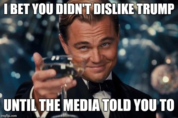 Leonardo Dicaprio Cheers Meme | I BET YOU DIDN'T DISLIKE TRUMP UNTIL THE MEDIA TOLD YOU TO | image tagged in memes,leonardo dicaprio cheers | made w/ Imgflip meme maker