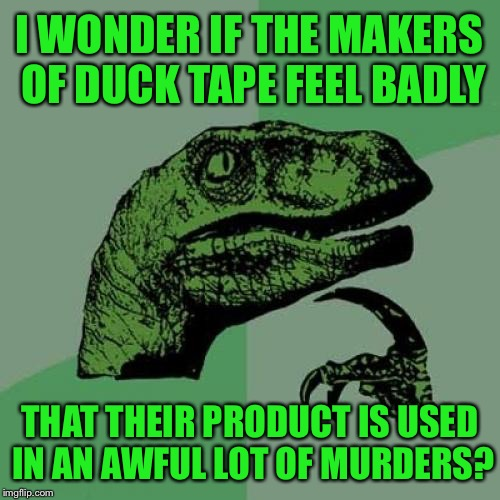 Philosoraptor Meme | I WONDER IF THE MAKERS OF DUCK TAPE FEEL BADLY THAT THEIR PRODUCT IS USED IN AN AWFUL LOT OF MURDERS? | image tagged in memes,philosoraptor,tape,duck tape,murder,funny | made w/ Imgflip meme maker