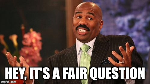 Steve Harvey Meme | HEY, IT'S A FAIR QUESTION | image tagged in memes,steve harvey | made w/ Imgflip meme maker