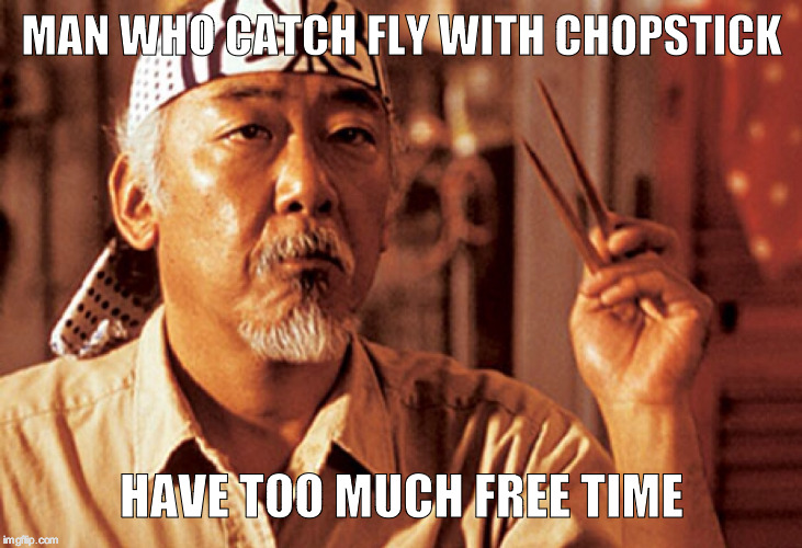 Mr Miyagi | MAN WHO CATCH FLY WITH CHOPSTICK HAVE TOO MUCH FREE TIME | image tagged in mr miyagi | made w/ Imgflip meme maker