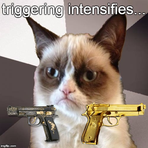 Musically Malicious Grumpy Cat | triggering intensifies... | image tagged in musically malicious grumpy cat | made w/ Imgflip meme maker