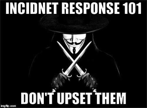 V For Vendetta | INCIDNET RESPONSE 101 DON'T UPSET THEM | image tagged in memes,v for vendetta | made w/ Imgflip meme maker