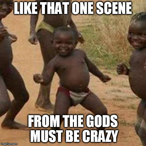 Third World Success Kid Meme | LIKE THAT ONE SCENE FROM THE GODS MUST BE CRAZY | image tagged in memes,third world success kid | made w/ Imgflip meme maker