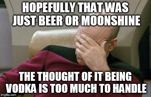 Captain Picard Facepalm Meme | HOPEFULLY THAT WAS JUST BEER OR MOONSHINE THE THOUGHT OF IT BEING VODKA IS TOO MUCH TO HANDLE | image tagged in memes,captain picard facepalm | made w/ Imgflip meme maker