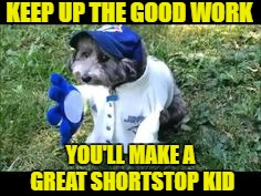 KEEP UP THE GOOD WORK YOU'LL MAKE A GREAT SHORTSTOP KID | made w/ Imgflip meme maker