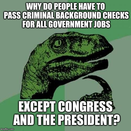 Philosoraptor Meme | WHY DO PEOPLE HAVE TO PASS CRIMINAL BACKGROUND CHECKS FOR ALL GOVERNMENT JOBS EXCEPT CONGRESS AND THE PRESIDENT? | image tagged in memes,philosoraptor | made w/ Imgflip meme maker