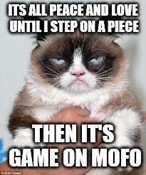 ITS ALL PEACE AND LOVE UNTIL I STEP ON A PIECE THEN IT'S GAME ON MOFO | made w/ Imgflip meme maker