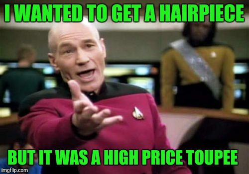 Picard Wtf Meme | I WANTED TO GET A HAIRPIECE BUT IT WAS A HIGH PRICE TOUPEE | image tagged in memes,picard wtf | made w/ Imgflip meme maker