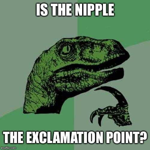Philosoraptor Meme | IS THE NIPPLE THE EXCLAMATION POINT? | image tagged in memes,philosoraptor | made w/ Imgflip meme maker