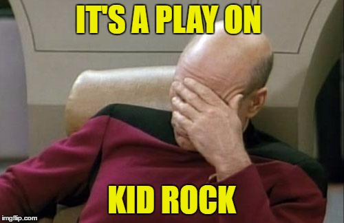 Captain Picard Facepalm Meme | IT'S A PLAY ON KID ROCK | image tagged in memes,captain picard facepalm | made w/ Imgflip meme maker