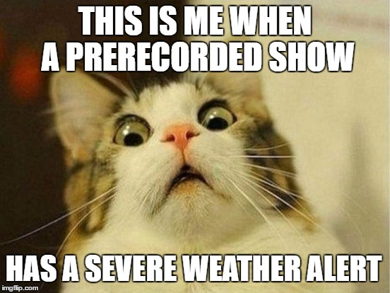THIS IS ME WHEN A PRERECORDED SHOW HAS A SEVERE WEATHER ALERT | made w/ Imgflip meme maker