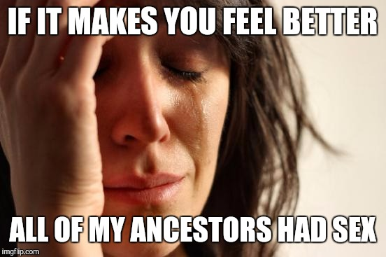 First World Problems Meme | IF IT MAKES YOU FEEL BETTER ALL OF MY ANCESTORS HAD SEX | image tagged in memes,first world problems | made w/ Imgflip meme maker