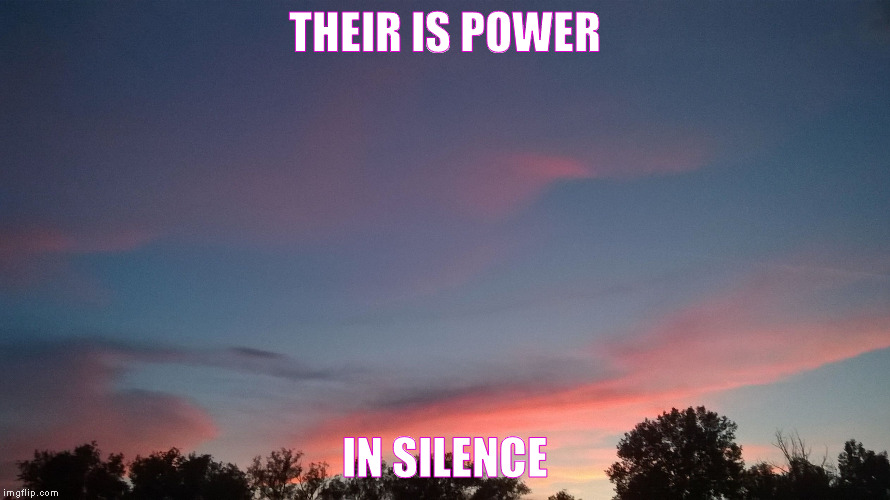 silence is power | THEIR IS POWER IN SILENCE | image tagged in silence,enlightenment,perspective | made w/ Imgflip meme maker
