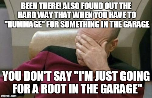 "Captain Picard Facepalm Meme | BEEN THERE! ALSO FOUND OUT THE HARD WAY THAT WHEN YOU HAVE TO ""RUMMAGE"" FOR SOMETHING IN THE GARAGE YOU DON'T SAY ""I'M JUST GOING FOR A ROOT 