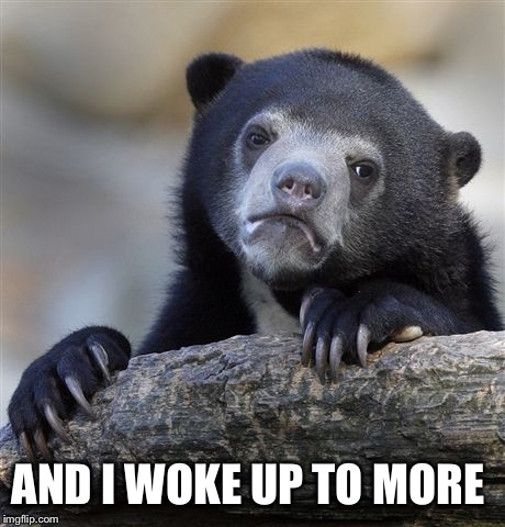 Confession Bear Meme | AND I WOKE UP TO MORE | image tagged in memes,confession bear | made w/ Imgflip meme maker