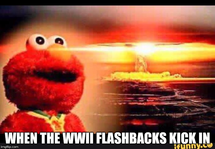 elmo-world |  WHEN THE WWII FLASHBACKS KICK IN | image tagged in elmo-world | made w/ Imgflip meme maker