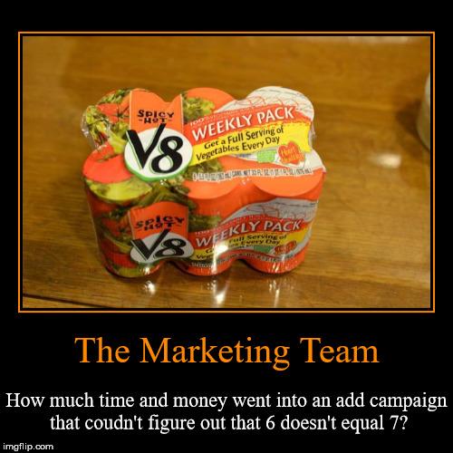 Six Does Not Equal Seven | The Marketing Team | How much time and money went into an add campaign that coudn't figure out that 6 doesn't equal 7? | image tagged in funny,demotivationals,v8 6 pack for 7 days,bad math,spicy hot v8really,top 20 | made w/ Imgflip demotivational maker