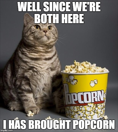 Cat eating popcorn |  WELL SINCE WE'RE BOTH HERE; I HAS BROUGHT POPCORN | image tagged in cat eating popcorn | made w/ Imgflip meme maker